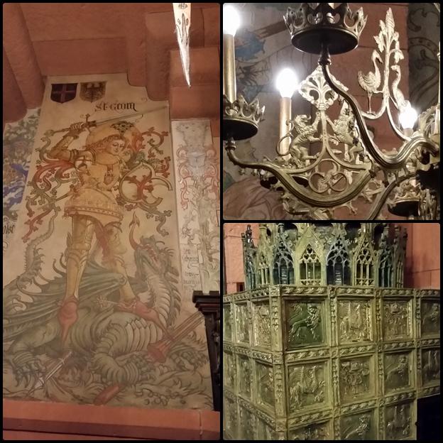 La salle du Kaiser, magnifique fresque murale (j'adore les dragons!) et superbe poêle en faïence